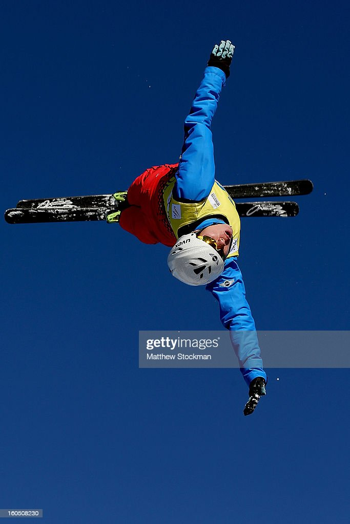 Zongyang Jia #1 of China jumps while training for the Mens Aerials during the Visa Freestyle International at Deer Valley on February 1, 2013 in Park City, Utah.