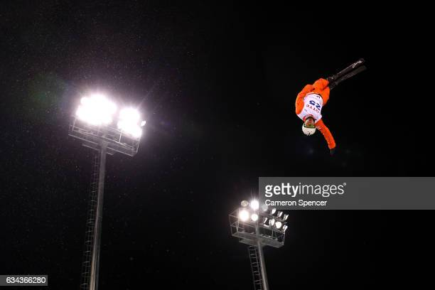Zongyang Jia of China performs an aerial during Aerials training prior to the FIS Freestyle World Cup at Bokwang Snow Park on February 9 2017 in...