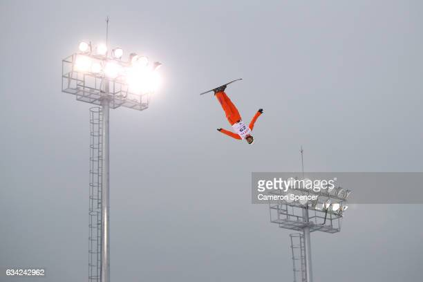 Zongyang Jia of China performs an aerial during an Aerials training session prior to the FIS Freestyle World Cup at Bokwang Snow Park on February 8...
