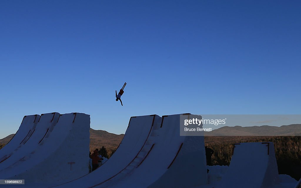 Zongyang Jia #1 of China practices prior to the USANA Freestyle World Cup aerial competition at the Lake Placid Olympic Jumping Complex on January 18, 2013 in Lake Placid, New York.
