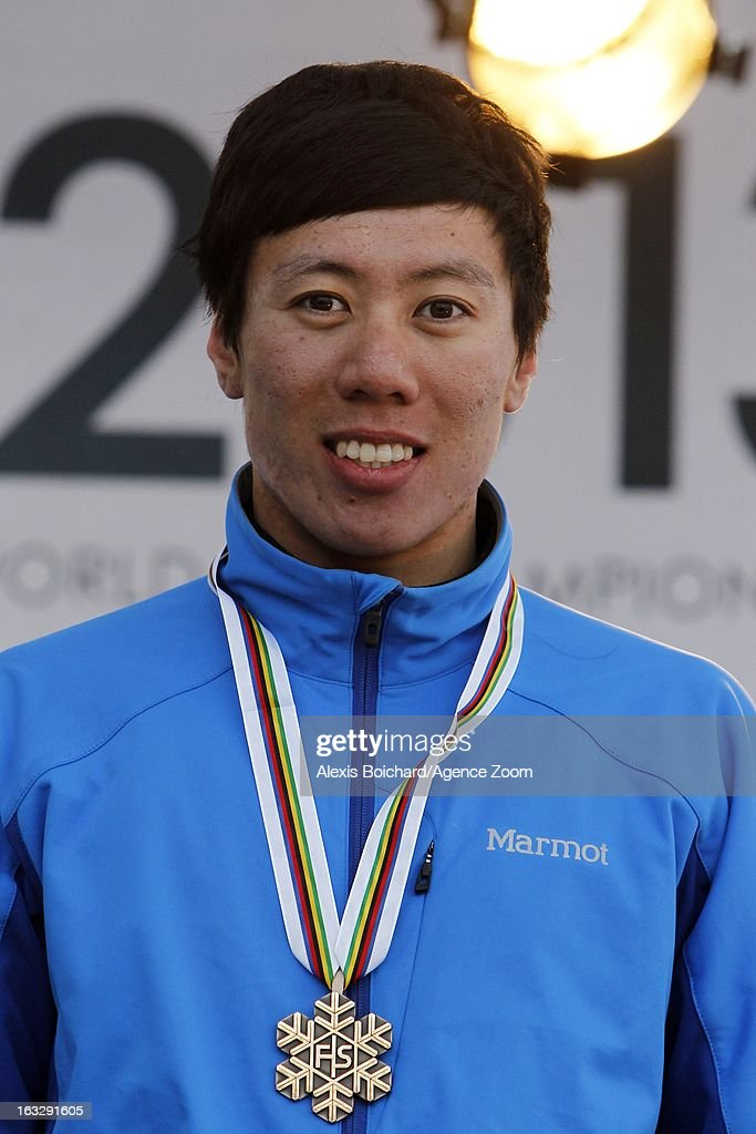 Zongyang Jia of China takes 3rd place during the FIS Freestyle Ski World Championship Men's and Women's Aerials on March 07, 2013 in Voss, Norway.