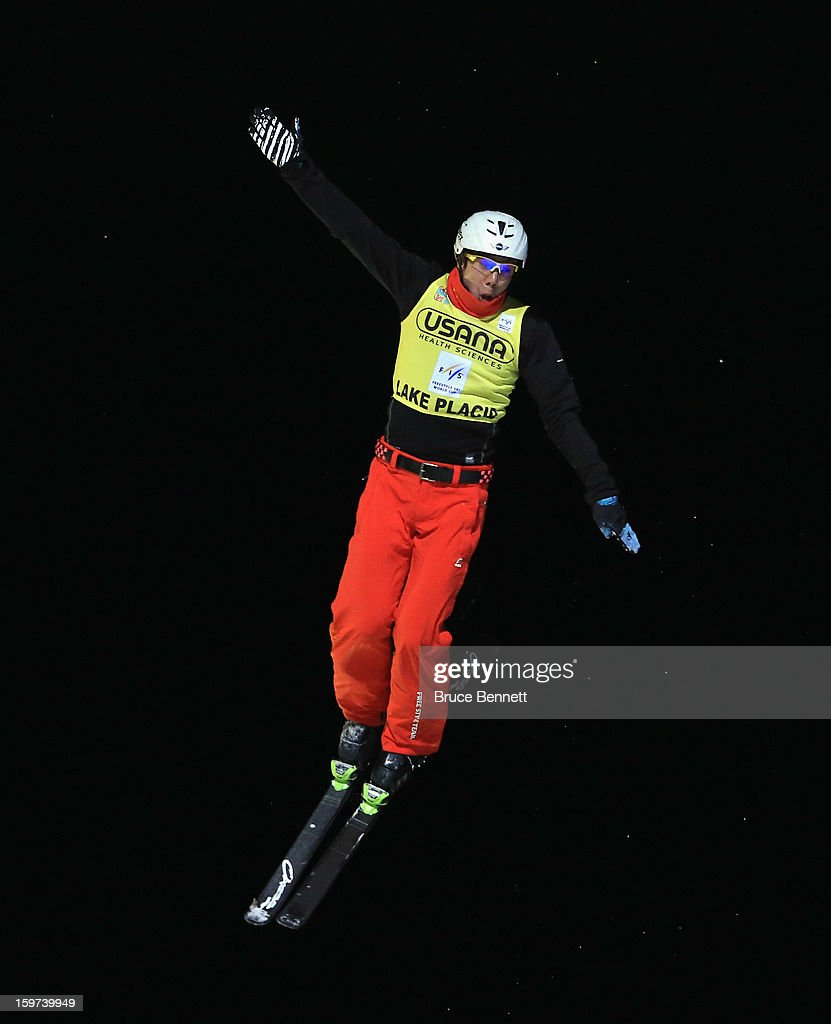 Zongyang Jia #1 of China takes his final jump that leads to victory in the USANA Freestyle World Cup aerial competition at the Lake Placid Olympic Jumping Complex on January 19, 2013 in Lake Placid, New York.