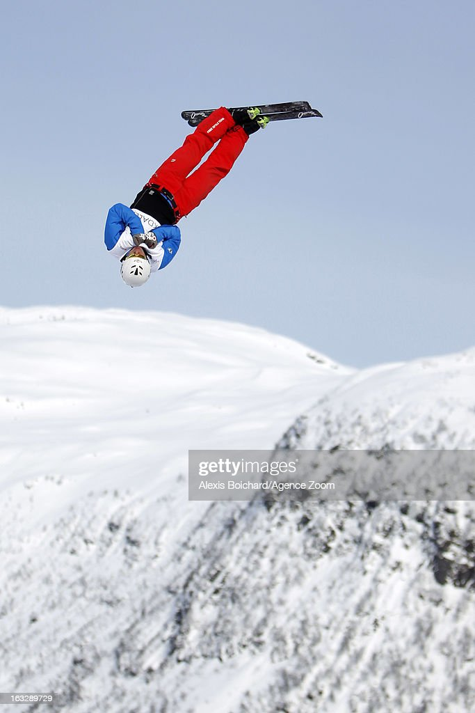 Zongyang Jia of China takes third place during the FIS Freestyle Ski World Championship Men's and Women's Aerials on March 07, 2013 in Voss, Norway.