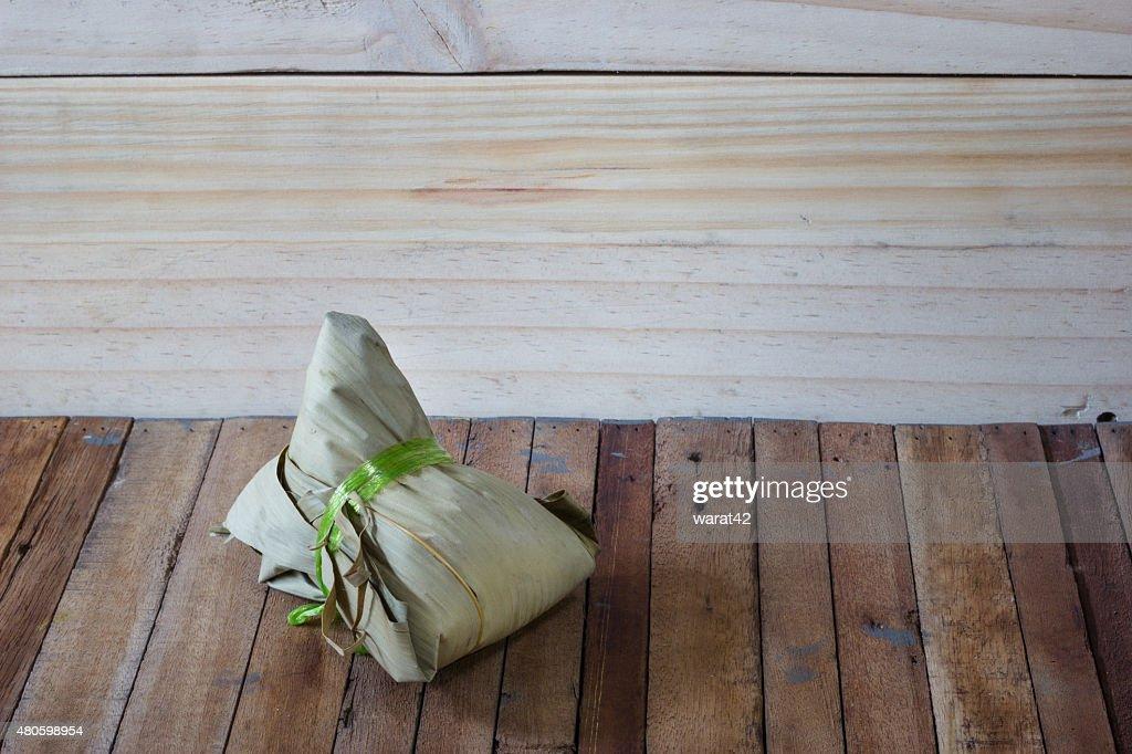 zongzi or Bak Chang on wood background : Stock Photo