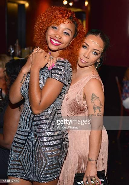 Zonnique Pullina and Tameka 'Tiny' Harris attend 'Tiny' Tameka Harris Celebrity Birthday Affair at Scales 925 Restaurant on July 14 2015 in Atlanta...