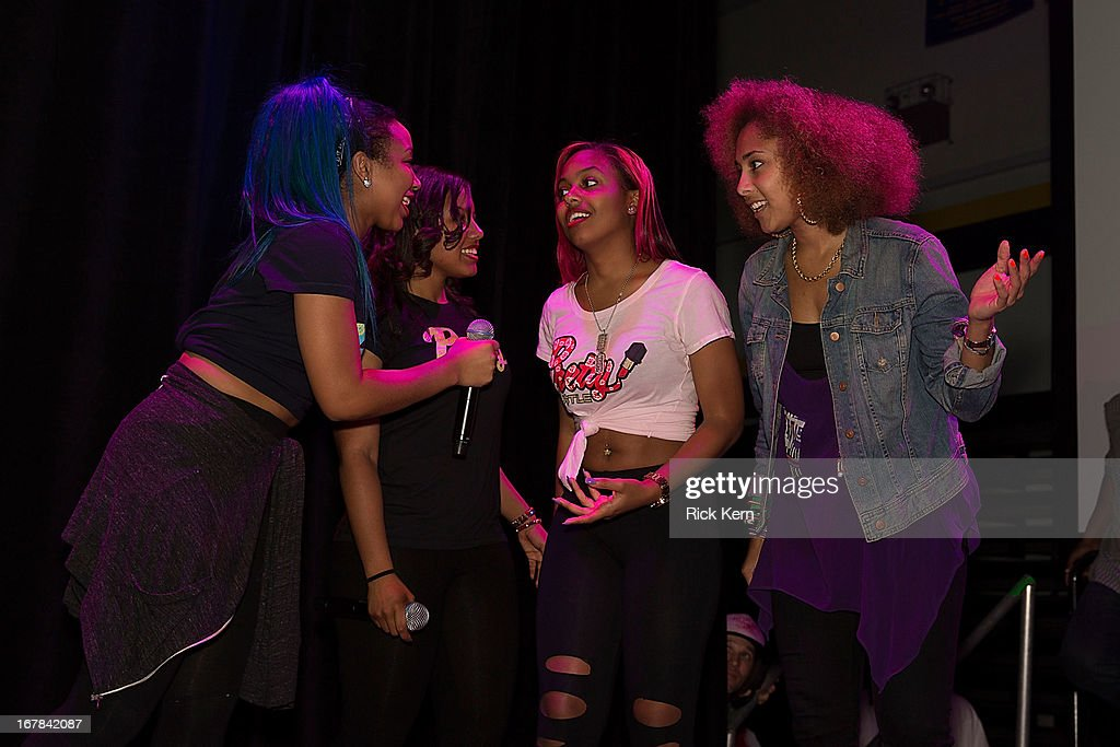 Zonnique Pullins aka Miss Star, Breaunna Womack aka Miss Babydoll, Bahja Rodriguez aka Miss Beauty of the OMG Girlz, and host Amanda Seales visit Round Rock, Texas students with the Get Schooled Victory Tour at Stony Point High School on April 30, 2013 in Round Rock, Texas.