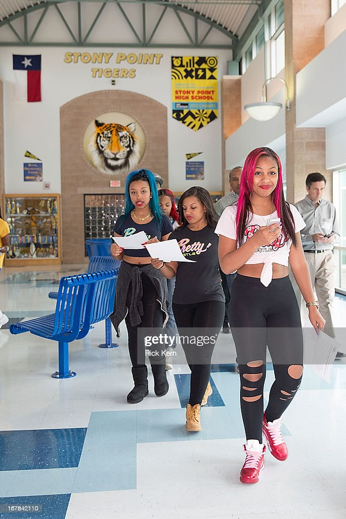 Zonnique Pullins aka Miss Star, Breaunna Womack aka Miss Babydoll, Bahja Rodriguez aka Miss Beauty of the OMG Girlz visit Round Rock, Texas students with the Get Schooled Victory Tour at Stony Point High School on April 30, 2013 in Round Rock, Texas.