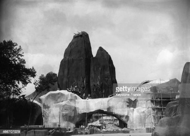 Zoo de Vincennes fitting with the big rock in the background circa 1930 in Paris France