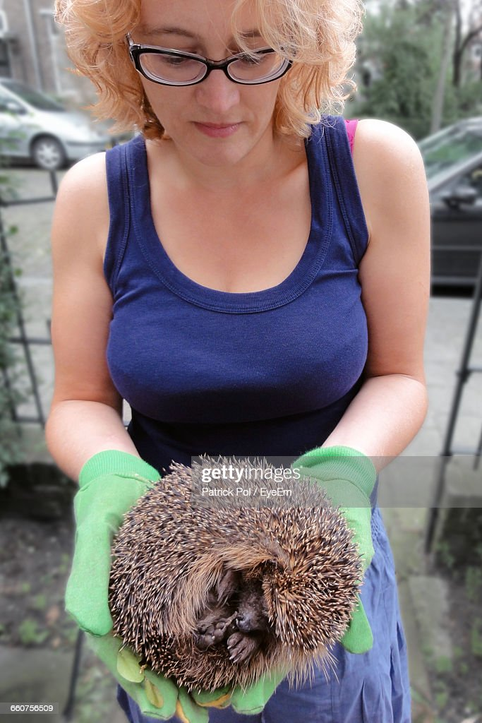 Zoo Keeper Carrying Hedgehog