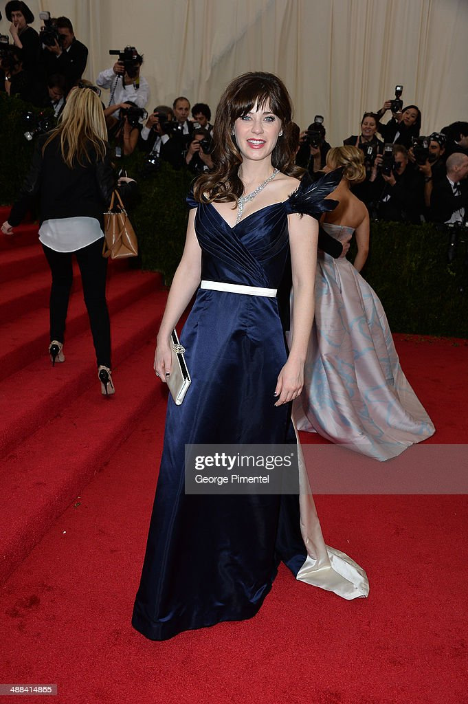 Zooey Deschane attends the 'Charles James: Beyond Fashion' Costume Institute Gala at the Metropolitan Museum of Art on May 5, 2014 in New York City.