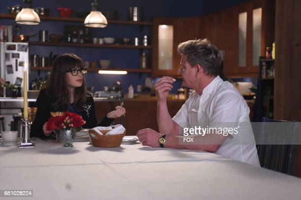 Zooey Deschanel and guest star Gordon Ramsay in the 'Operation Bobcat' episode of NEW GIRL airing Tuesday Feb 14 on FOX