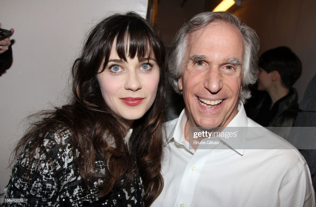 <a gi-track='captionPersonalityLinkClicked' href=/galleries/search?phrase=Zooey+Deschanel&family=editorial&specificpeople=202927 ng-click='$event.stopPropagation()'>Zooey Deschanel</a> and <a gi-track='captionPersonalityLinkClicked' href=/galleries/search?phrase=Henry+Winkler+-+Actor&family=editorial&specificpeople=206799 ng-click='$event.stopPropagation()'>Henry Winkler</a> pose backstage on opening night of 'The Performers' on Broadway at the Longacre Theatre on November 14, 2012 in New York City.
