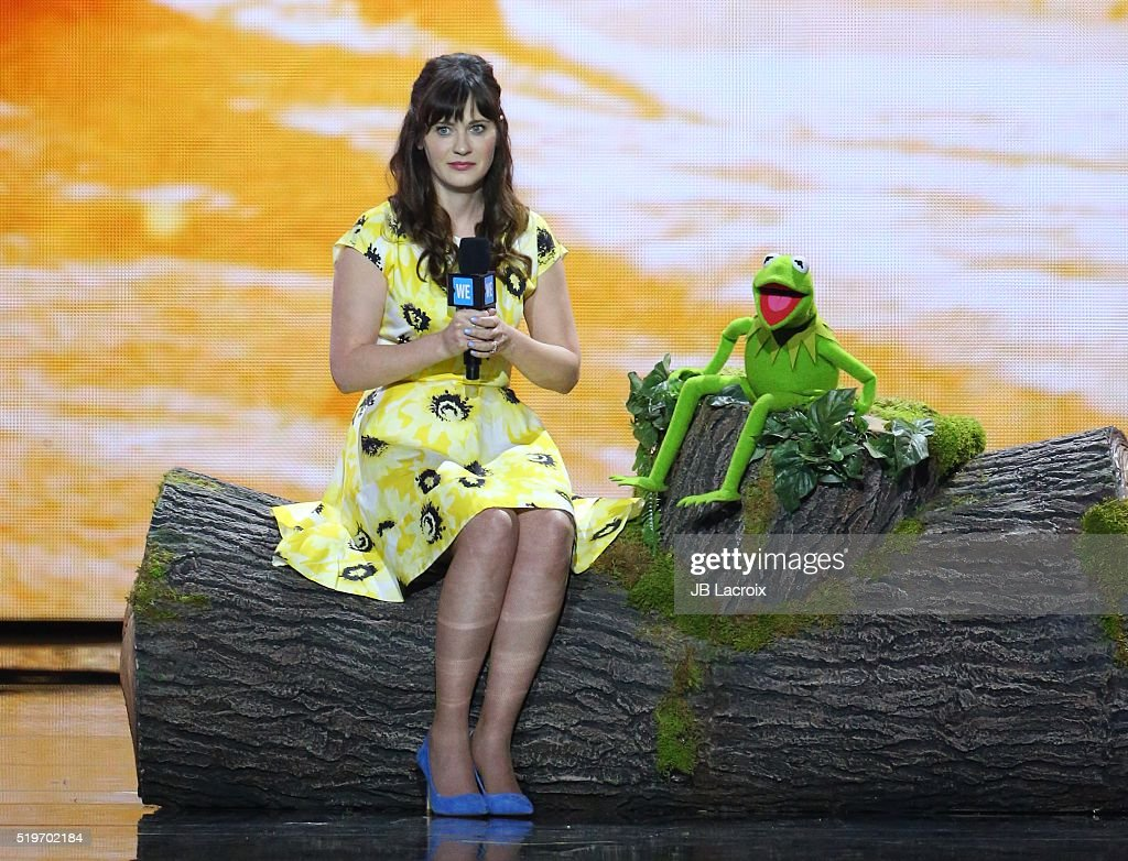Zooey Deschanel and Kermit the Frog are seen on stage at WE Day California 2016 at The Forum on April 7 2016 in Inglewood California
