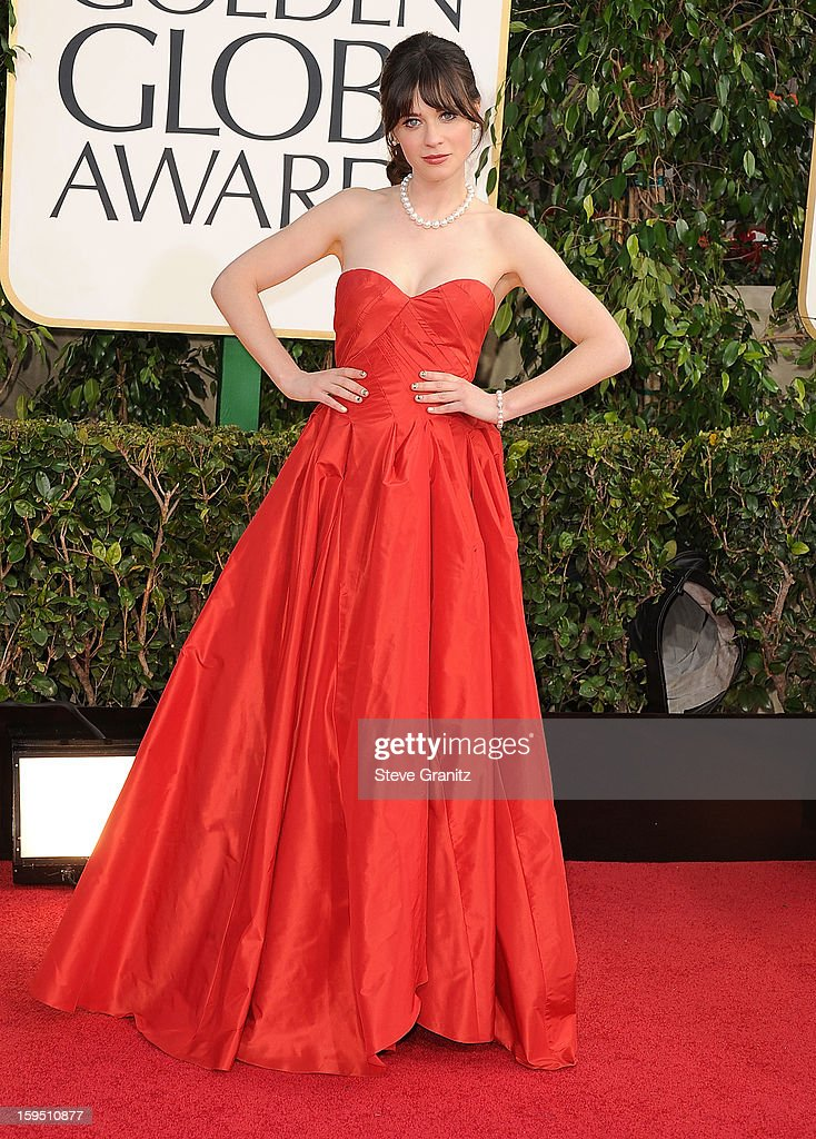 Zooey Deschanel arrives at the 70th Annual Golden Globe Awards at The Beverly Hilton Hotel on January 13, 2013 in Beverly Hills, California.