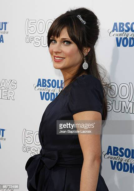 Zooey Deschanel arrives at the Los Angeles premiere of ' Days Of Summer' at the Egyptian Theatre on June 24 2009 in Hollywood California