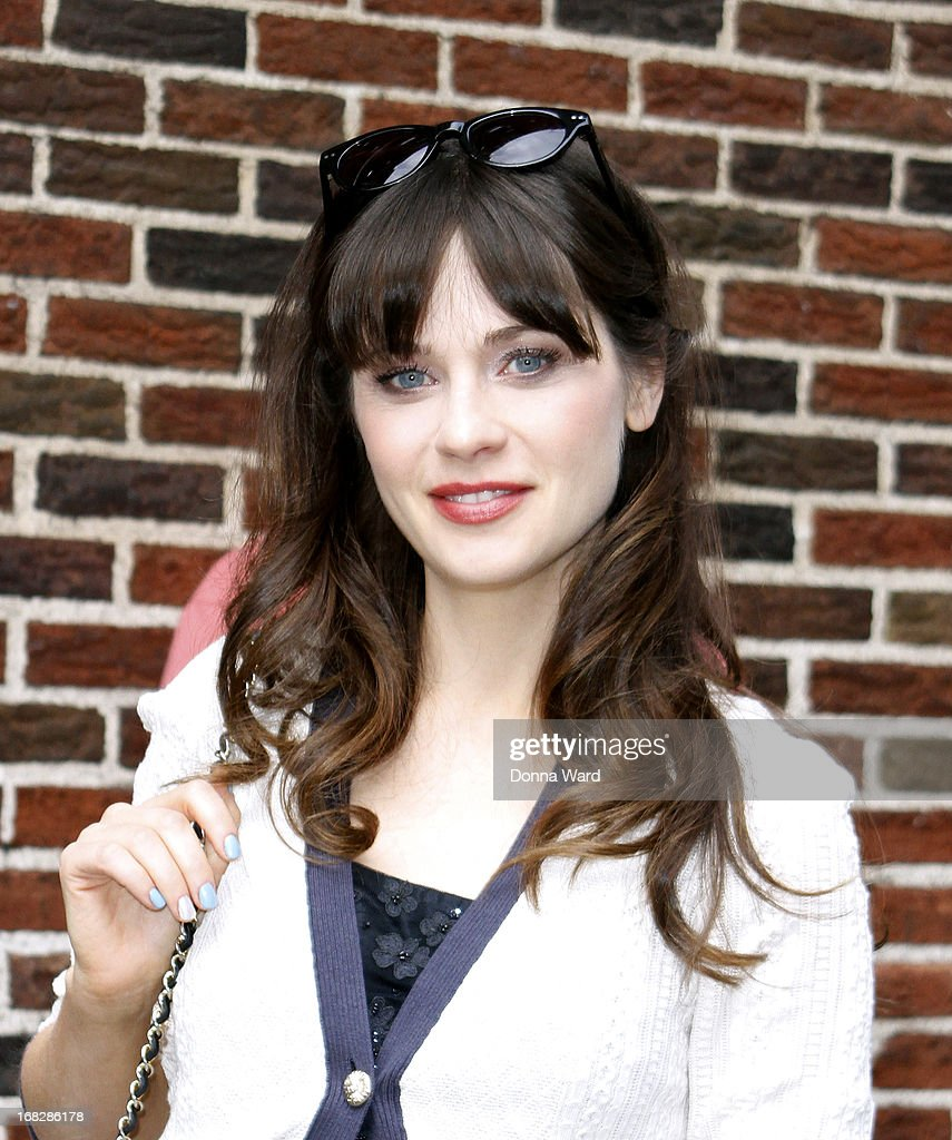 Zooey Deschanel arrives for the 'Late Show with David Letterman' at Ed Sullivan Theater on May 7, 2013 in New York City.