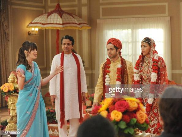 Zooey Deschanel Hannah Simone and Satya Bhabha star in the 'Elaine's Big Day' season finale episode of NEW GIRL airing Tuesday May 14 2013 on FOX