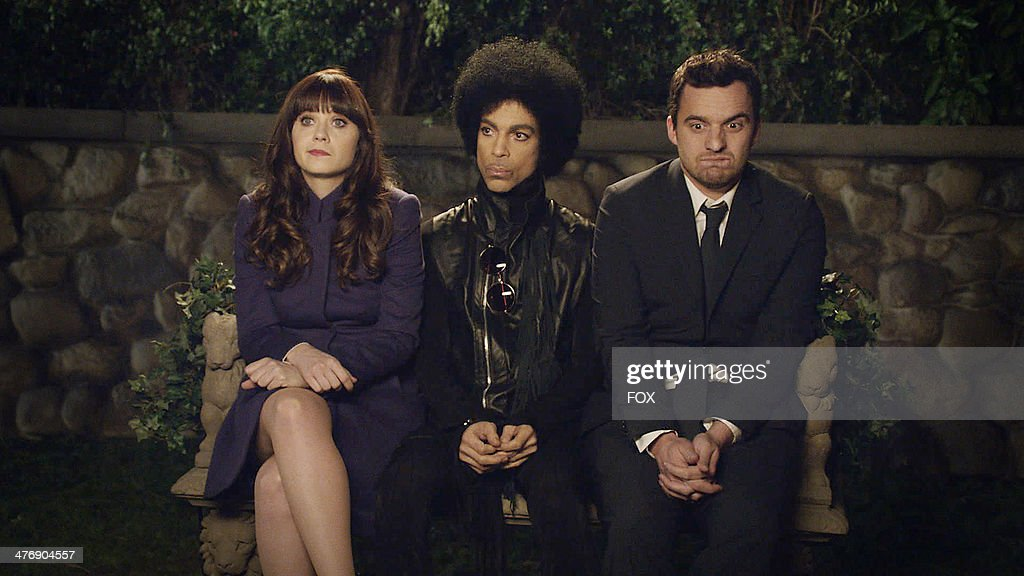 <a gi-track='captionPersonalityLinkClicked' href=/galleries/search?phrase=Zooey+Deschanel&family=editorial&specificpeople=202927 ng-click='$event.stopPropagation()'>Zooey Deschanel</a>, music royalty <a gi-track='captionPersonalityLinkClicked' href=/galleries/search?phrase=Prince+-+Musician&family=editorial&specificpeople=203048 ng-click='$event.stopPropagation()'>Prince</a> and <a gi-track='captionPersonalityLinkClicked' href=/galleries/search?phrase=Jake+Johnson+-+Actor&family=editorial&specificpeople=11543114 ng-click='$event.stopPropagation()'>Jake Johnson</a> in the '<a gi-track='captionPersonalityLinkClicked' href=/galleries/search?phrase=Prince+-+Musician&family=editorial&specificpeople=203048 ng-click='$event.stopPropagation()'>Prince</a>' episode of NEW GIRL airing Sunday, Feb. 2, 2014 (approx. 10:30-11:00 PM ET/7:30-8:00 PM PT), immediately after FOX Sports' coverage of SUPER