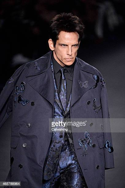 Zoolander star Ben Stiller walks the runway at the Valentino Autumn Winter 2015 fashion show during Paris Fashion Week on March 10 2015 in Paris...