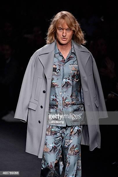 Zoolander star Owen Wilson walks the runway at the Valentino Autumn Winter 2015 fashion show during Paris Fashion Week on March 10 2015 in Paris...