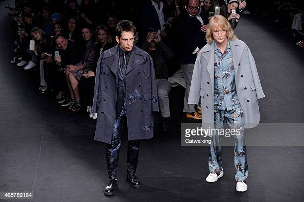 Zoolander stars Ben Stiller and Owen Wilson walk the runway at the Valentino Autumn Winter 2015 fashion show during Paris Fashion Week on March 10...