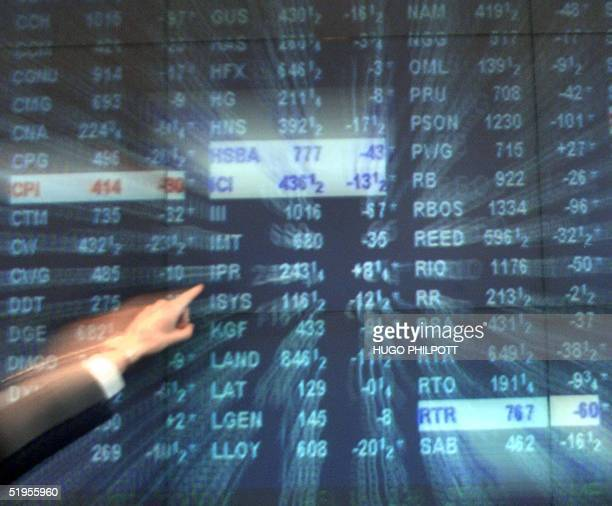 A zoom burst of the FTSE 100 stock exchange screen on the day the exchange lost 2259 points leaving the market standing at 53148 at the close of...