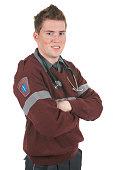 Zoom Men Paramedic Arm Cross White Background