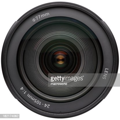 Zoomed in camera lens on white background