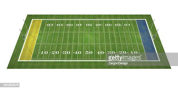 A zoomed out view of a football field