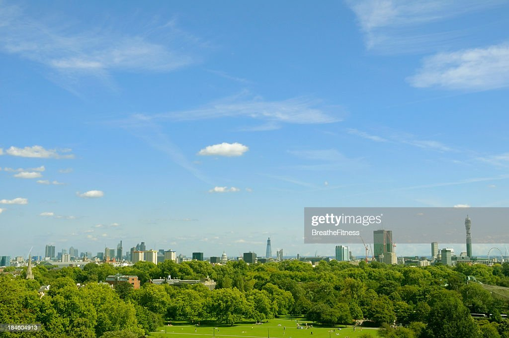 A zoomed out view of London's cityscape