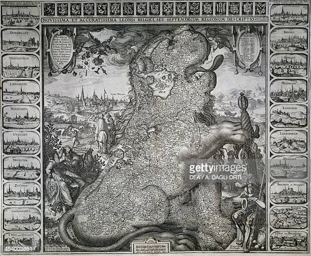 Zoomorphic map by Leo Belgicus painted copper engraving from Novissima et accurate leonis Belgici seu descriptio septemdecim regionum 1583 ca by...