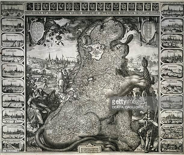 Zoomorphic map of Belgium from Novissima et accurate Leonis Belgici seu septemdecim regionum descriptio by Claes Janszoon Visscher copper engraving...