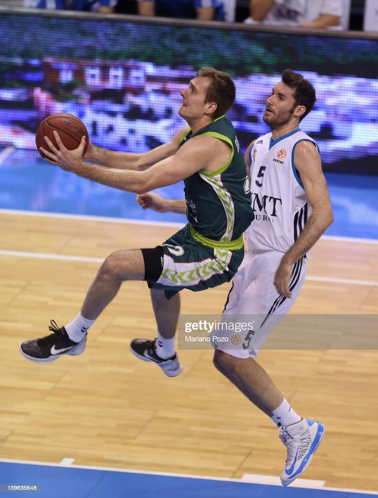 Zoran Dragic, #22 of Unicaja Malaga and Rudy Fernandez of Real Madrid in action during the 2012-2013 Turkish Airlines Euroleague Top 16 Date 4 between Unicaja Malaga v Real Madrid at Palacio Deportes Martin Carpena on January 17, 2013 in Malaga, Spain.