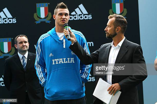 Zoran Filicic and Danilo Gallinari during the unveiling of the Italian Rugby Federation's new adidas kit on September 13 2012 in Rome Italy
