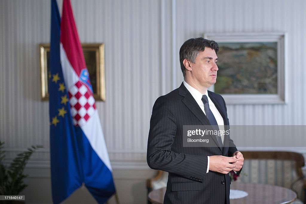 <a gi-track='captionPersonalityLinkClicked' href=/galleries/search?phrase=Zoran+Milanovic&family=editorial&specificpeople=4663917 ng-click='$event.stopPropagation()'>Zoran Milanovic</a>, Croatia's prime minister, pauses ahead of an interview at the government's office in Zagreb, Croatia, on Wednesday, June 26, 2013. Croatia's government is doing what's necessary to return to economic growth for the first time since 2008 as the Balkan nation gears up to become the European Union's 28th member, central bank Governor Boris Vujcic said. Photographer: Simon Dawson/Bloomberg via Getty Images