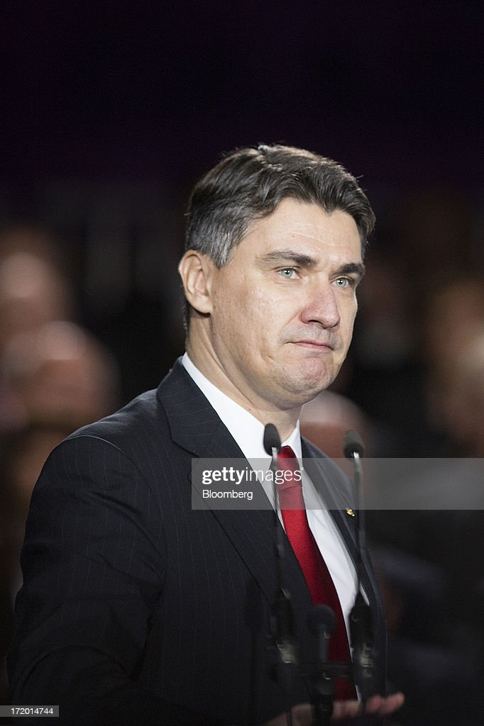 <a gi-track='captionPersonalityLinkClicked' href=/galleries/search?phrase=Zoran+Milanovic&family=editorial&specificpeople=4663917 ng-click='$event.stopPropagation()'>Zoran Milanovic</a>, Croatia's prime minister, speaks on the stage in Ban Jelacic square as the Croatian capital celebrates its entry into the European Union (EU) in Zagreb, Croatia, on Sunday, June 30, 2013. Croatia will become the European Union's 28th member at midnight, the bloc's first addition since Bulgaria and Romania joined in 2007. Photographer: Simon Dawson/Bloomberg via Getty Images