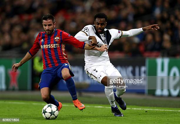 Zoran Tošic of CSKA Moscow and Danny Rose of Tottenham Hotspur battle for possession during the UEFA Champions League Group E match between Tottenham...