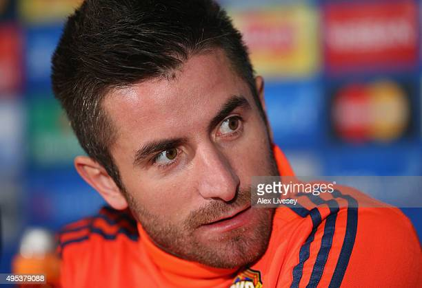 Zoran Tosic of CSKA Moscow faces the media during a press conference at Old Trafford on November 2 2015 in Manchester England