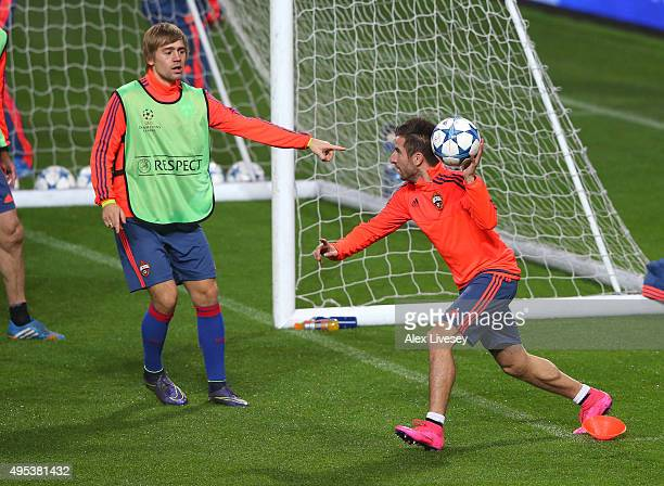 Zoran Tosic of CSKA Moscow plays handball during a training session at Old Trafford on November 2 2015 in Manchester England