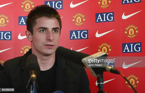 Zoran Tosic of Manchester United speaks during a press conference to unveil him at Carrington Training Ground on January 13 2009 in Manchester England