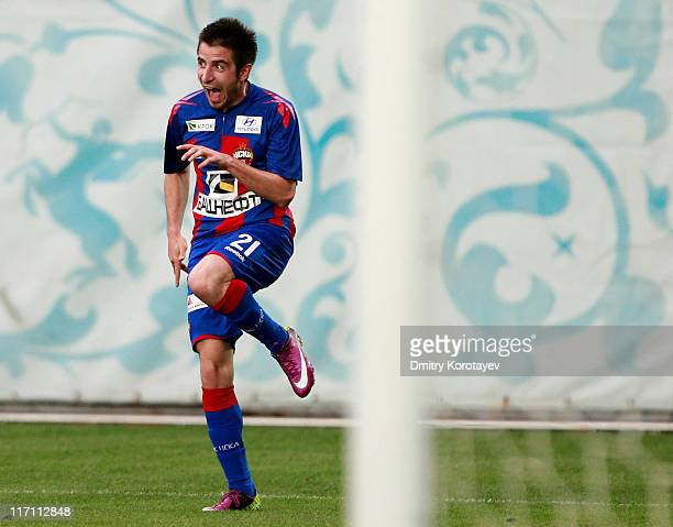 Zoran Tosic of PFC CSKA Moscow celebrates after scoring a goal during the Russian Football League Championship match between PFC CSKA Moscow and FC...