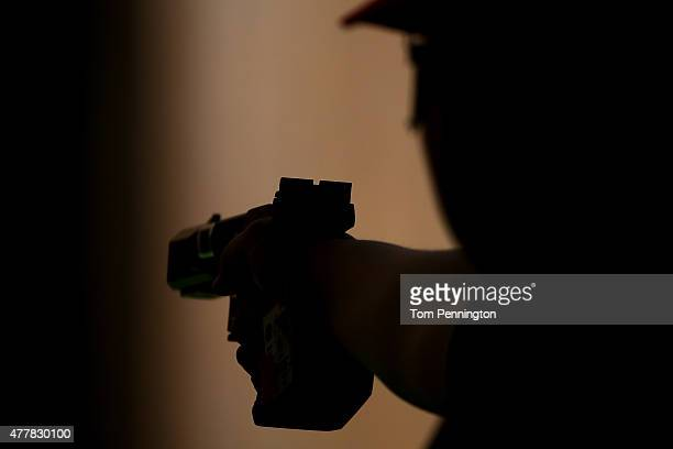 Zorana Arunivoc of Serbia shoots during the Women's Pistol Shooting 25m Rapid on day eight of the Baku 2015 European Games at the Baku Shooting...