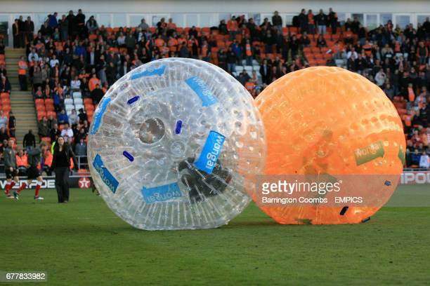 Zorbing on the pitch at half time