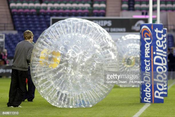 Zorbing on the pitch before the game between Edinburgh and Northampton Saints