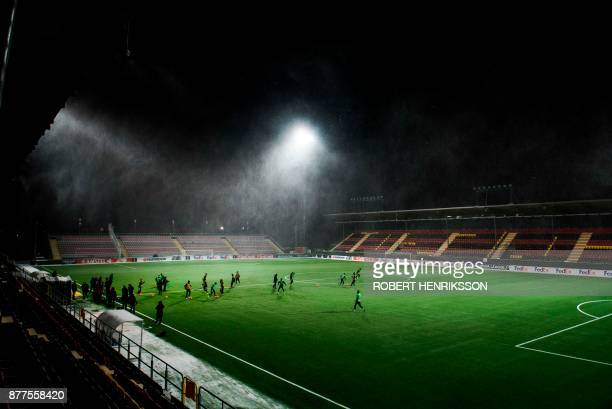 Zorya Luhansk football club's players take part in a training session on November 22 2017 in Ostersund Sweden on the eve of their UEFA Europa League...