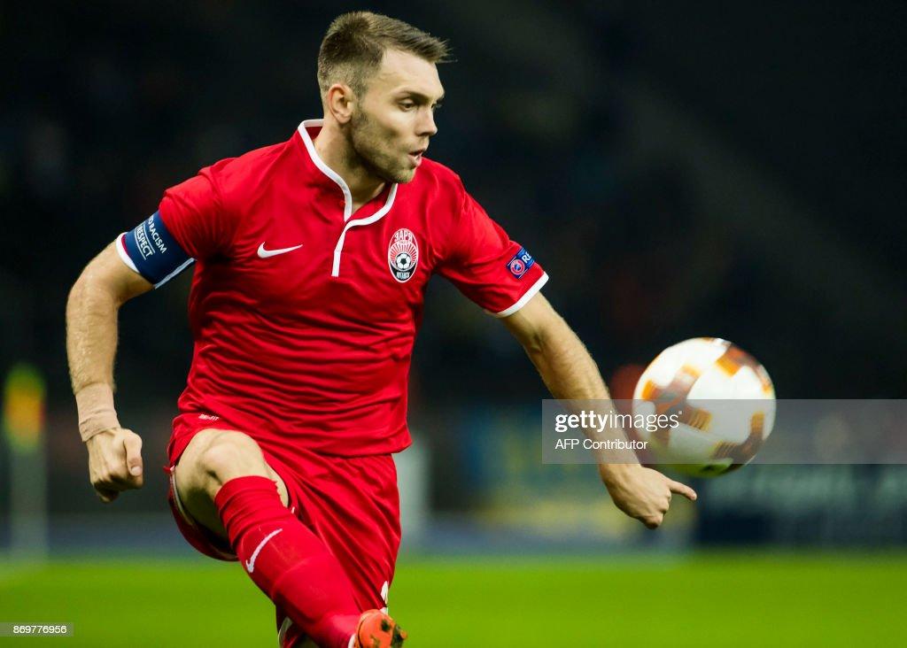 Zorya's defender Artem Sukhotskiy controls the ball during the UEFA Europa League group J football match between Hertha BSC Berlin and FC Zorya Luhansk on November 2, 2017 in Berlin. / AFP PHOTO / Odd ANDERSEN