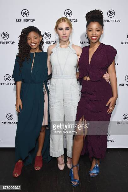 Zosia Mamet and Chloe x Halle attend Refinery29's Newfronts presentation OUR PARTY IS WOMEN on May 3 2017 in New York City