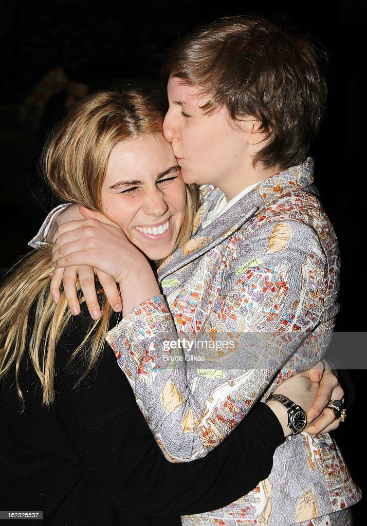 Zosia Mamet and Lena Dunham pose backstage at the play 'REALLY REALLY' OffBroadway at The Lucille Lortel Theater on February 21 2013 in New York City