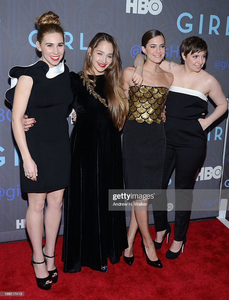Zosia Mamet Jemima Kirke Allison Williams and Lena Dunham attend the Premiere Of 'Girls' Season 2 Hosted By HBO at NYU Skirball Center on January 9...