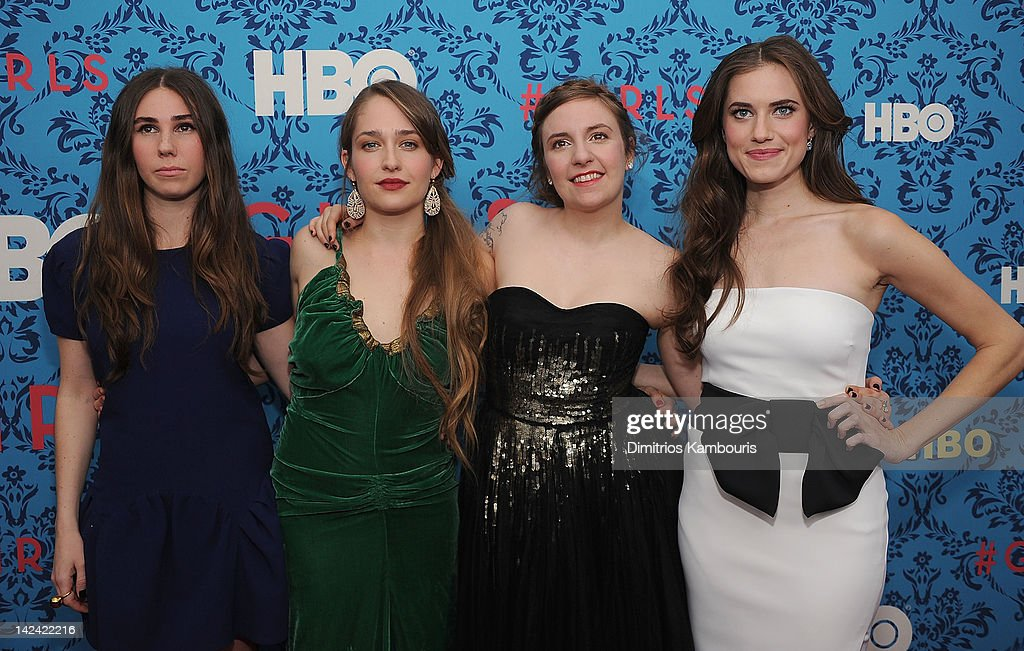 <a gi-track='captionPersonalityLinkClicked' href=/galleries/search?phrase=Zosia+Mamet&family=editorial&specificpeople=7439328 ng-click='$event.stopPropagation()'>Zosia Mamet</a>, <a gi-track='captionPersonalityLinkClicked' href=/galleries/search?phrase=Jemima+Kirke&family=editorial&specificpeople=7327464 ng-click='$event.stopPropagation()'>Jemima Kirke</a>, producer <a gi-track='captionPersonalityLinkClicked' href=/galleries/search?phrase=Lena+Dunham&family=editorial&specificpeople=5836535 ng-click='$event.stopPropagation()'>Lena Dunham</a> and <a gi-track='captionPersonalityLinkClicked' href=/galleries/search?phrase=Allison+Williams+-+Actress&family=editorial&specificpeople=594198 ng-click='$event.stopPropagation()'>Allison Williams</a> attend the HBO with the Cinema Society host the New York premiere of HBO's 'Girls' at the School of Visual Arts Theater on April 4, 2012 in New York City.